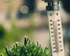 Monatsrückblick Juni Wetter Thermometer auf 40°C